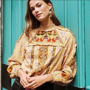 Anthro Maeve Goldie Embroidered top